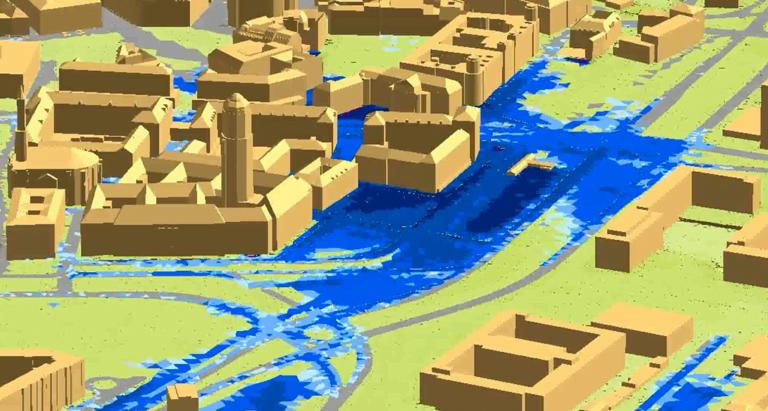 Digitales Geländemodell mit Senken und Fließwegen