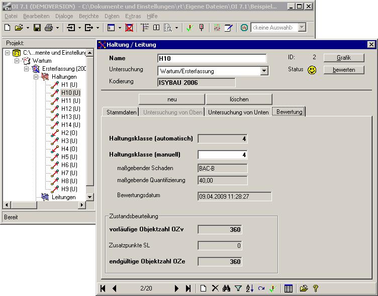 Screenshot von OI - Einstellung Haltungsklassen