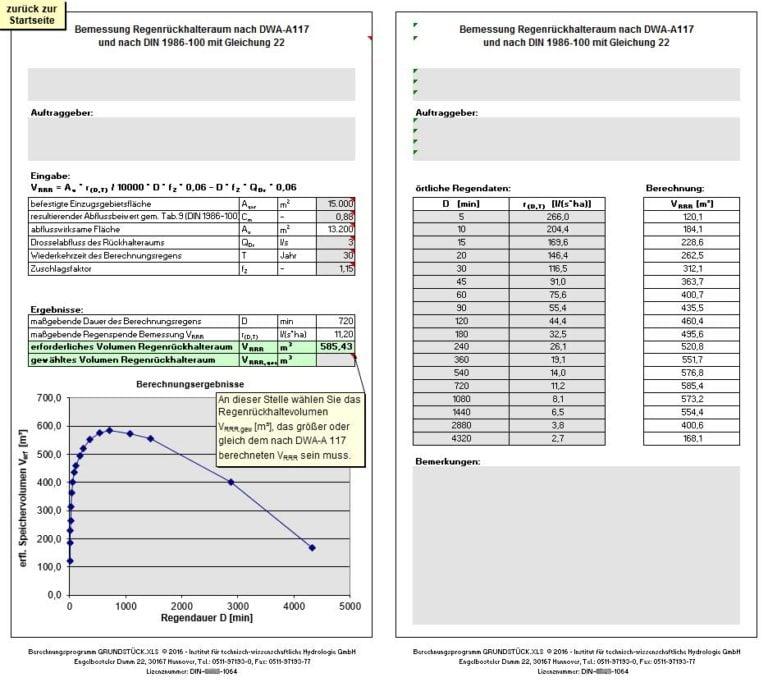 GRUNDSTÜCK.XLS - Beispiel-Datenblatt