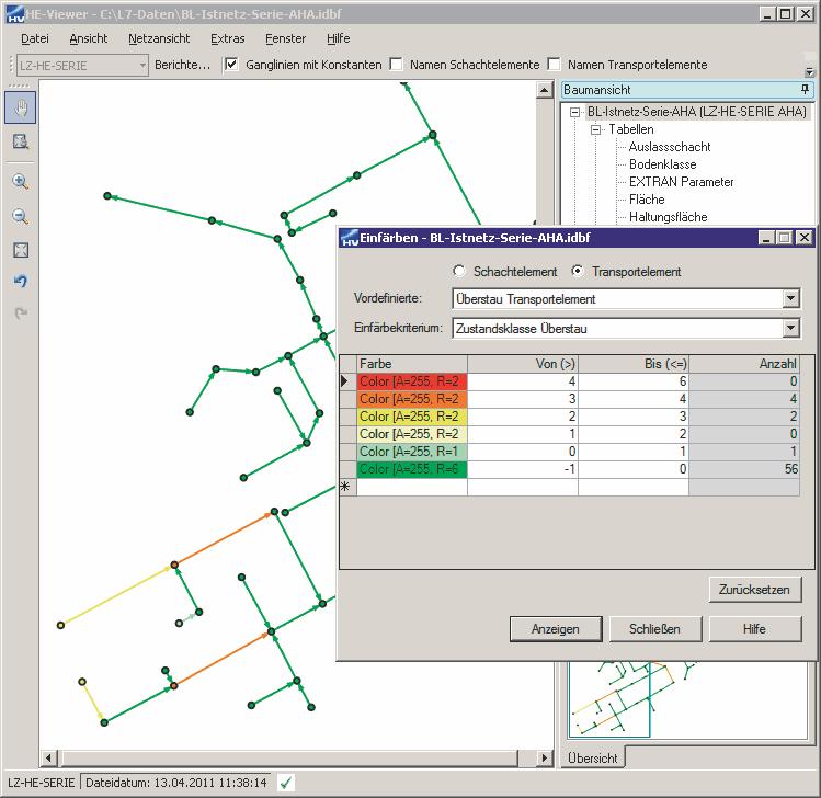 HYSTEM EXTRAN LZ - Einfärben der Netzansicht